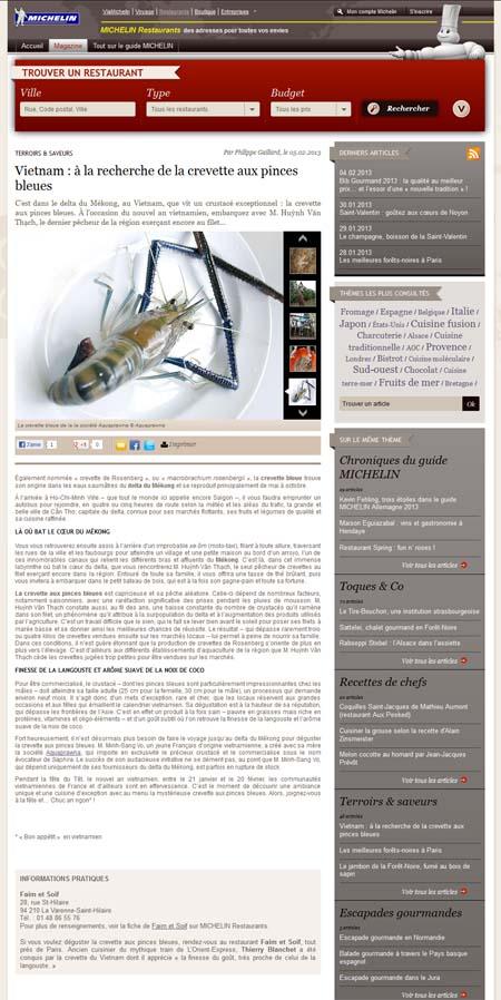 A la recherche de la Saphira au Vietnam ; Michelin restaurants