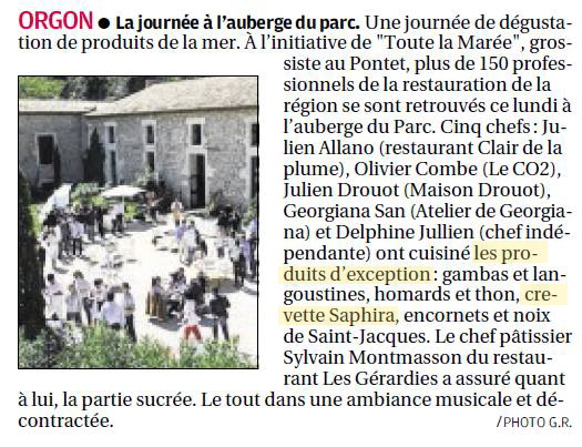 Paru dans la Provence : Journée dégustation Toute la Marée avec la crevette Saphira