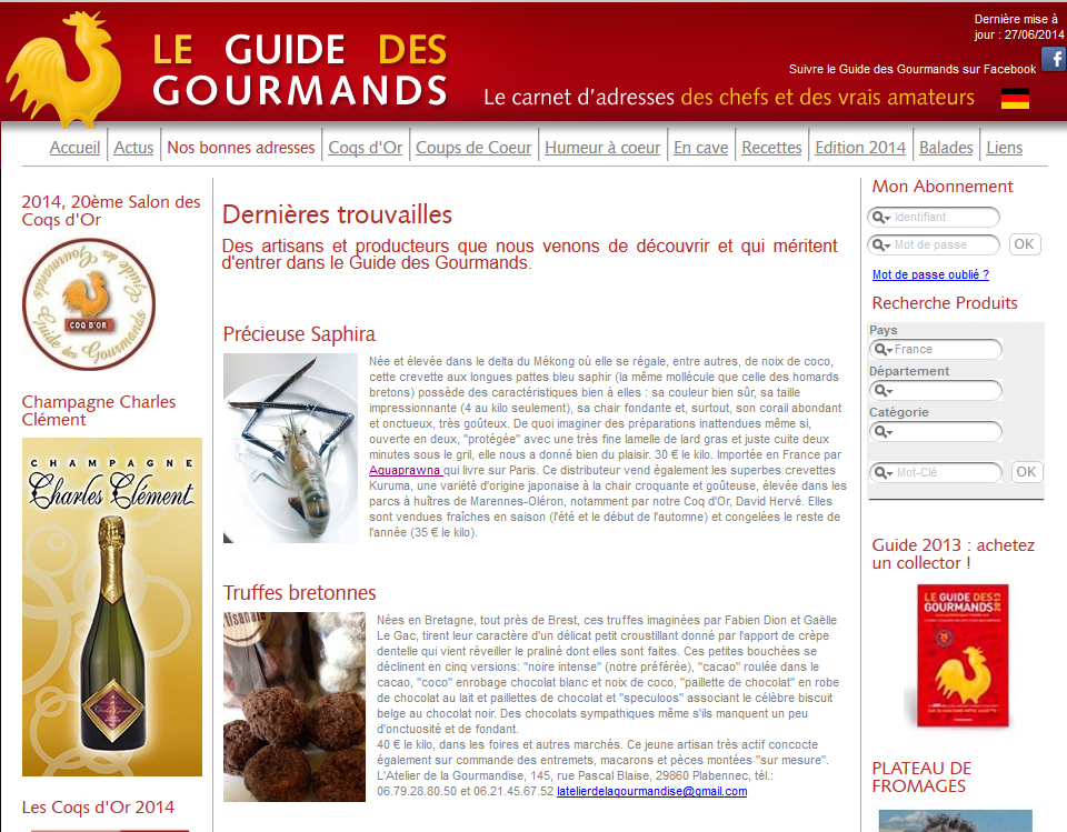 La crevette Saphira sur le Guide des Gourmands