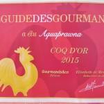 Aquaprawna, Coq d'Or 2015 avec la crevette Saphira