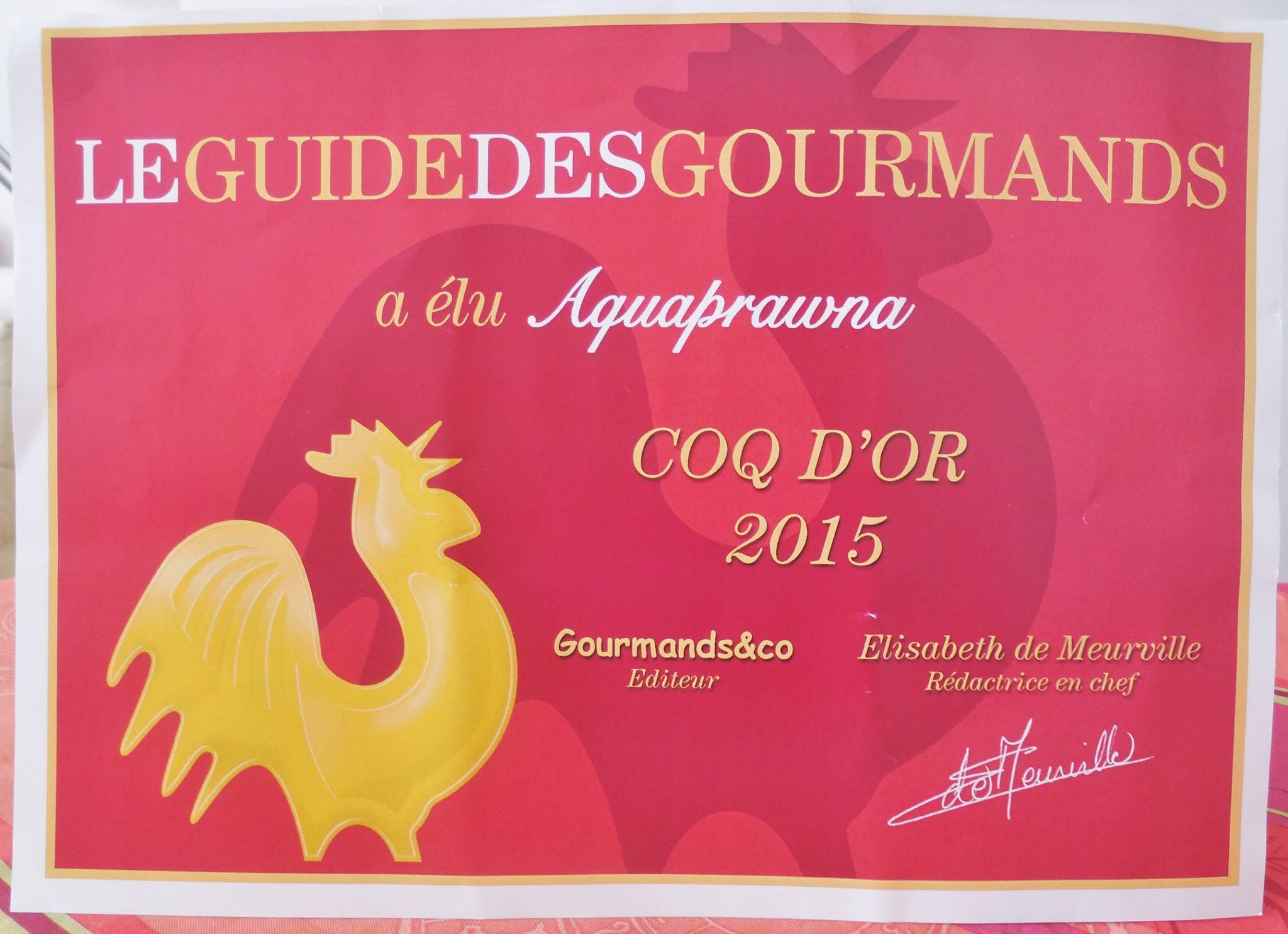 Aquaprawna, Coq d'Or 2015 avec ses crevettes Kuruma et Saphira